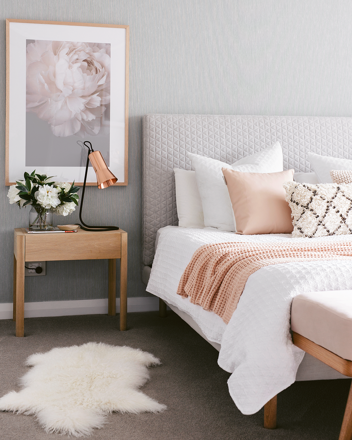 Light Pink White and Grey Bedroom Ideas